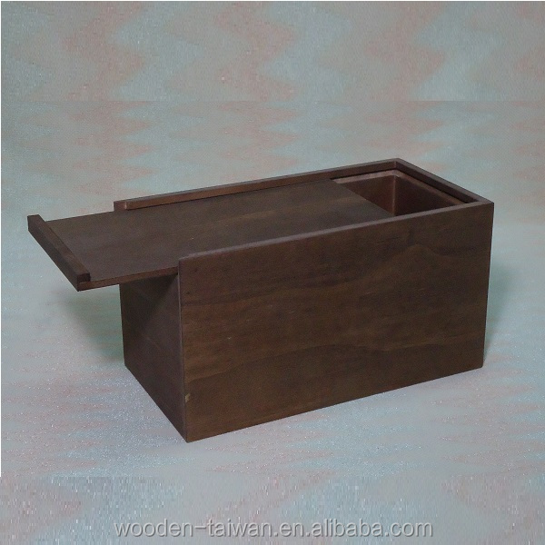 Shoe Wooden Box with Sliding Lid magnetic Top