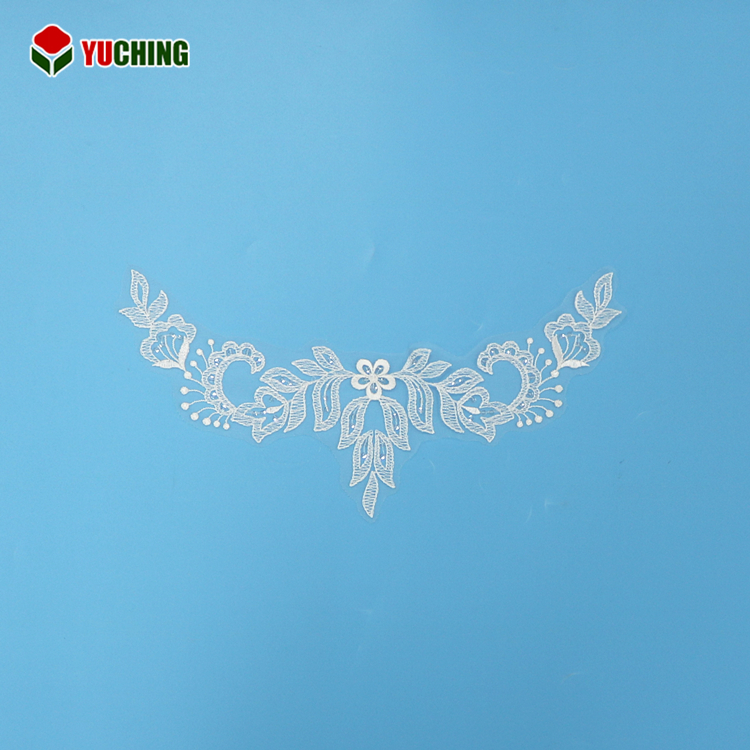 Fashionable Lace Product Type Neck Design with Sequins Net Lace Collar