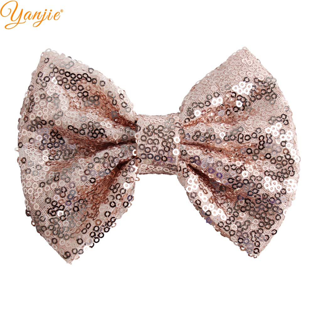 "5"" Kids Girl Glitter Big Sequin Messy Hair Bows Chic European DIY Hair Accessories For Kids Barrette Hair Clip Rainbow"