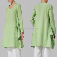 Indian Long Sleeves Sheer Linen Top Airy Slouchy Design Casual Tee U Neckline Green Women xxl Tunic Shirt With Long Poncho Hem