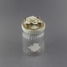 Wholesale flower ceramic lid airtight glass jar for wedding favors