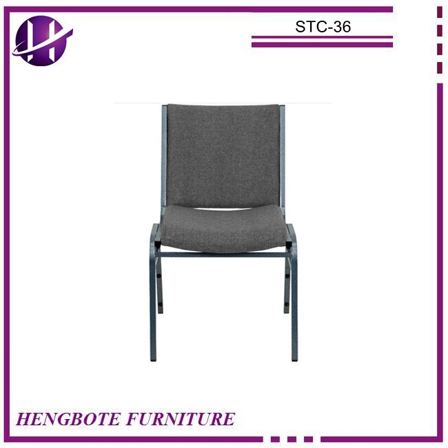 Unfolding commerical furniture grey fabric cover office churh stacking chair with low price