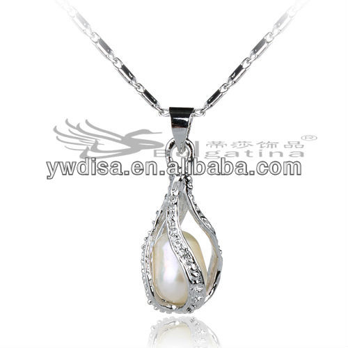 Copper Jewelry Pendant With Crystals Trendy Jewelry Pearl Cage Pendant For Promotion