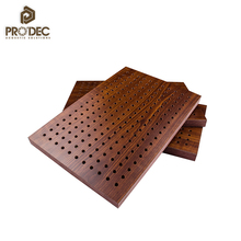 Sound insulation perforated wood acoustic board wood veneer ceiling panels