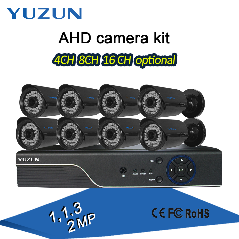 4ch 8ch 16ch 1080p ahd cctv dvr kit bullet camera with p2p remote monitor