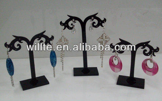 2013 fancy Tree-shaped wholesale black acrylic earring display holder/rack