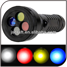 Traffic Cree Q5 led camping torch light rechargeable 4 color hunting led flashlight