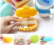Macaron Cool Smile Mini 4 Compartment Weekly Pill Box Organizer 7 Days, Wholesale 28 30 Day Monthly Pill Box