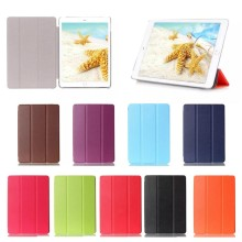 China Supplier Three folding with clear PC backside Leather cover Case for iPad mini4 with wake up/ sleeping function