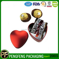 2015 best selling heart- shaped metal candy chocolate tin box