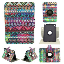 Aztec Tribal Design Luxurious Leather 360 rotating Case for Apple Ipad Mini stand protective case + Free Screen Pen