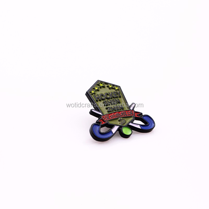 Shenzhen Hockey sport event souvenir lapel pin with black soft enamel craft WP028