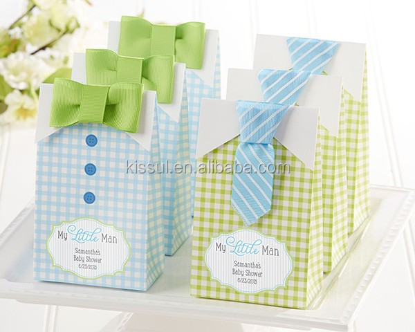 "Baby shower favor boxes ""My Little Man"" Candy Bags Baby Birthday Gift bcan be Personalized names and date"