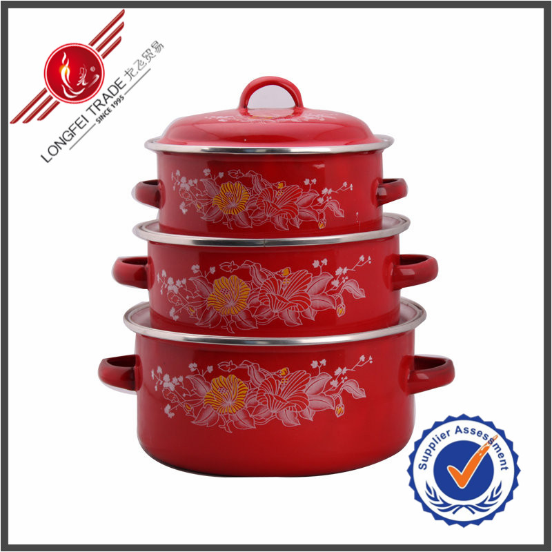 New Products Kitchen Utensil 3 Pieces Enameled Coated Cast Iron Cookware