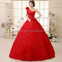 New style The bride backless bind one shoulder red flower wedding dress