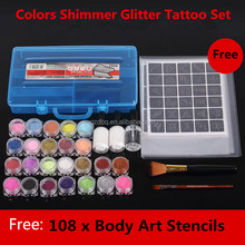 24Colors Powder Temporary Shimmer Glitter Tattoo Kit for Body Art Design Paint with Stencil Glue & Brushes