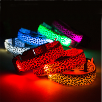 Sexy Leopard Pattern Remote Control Nylon Flashing Led Dog Collar