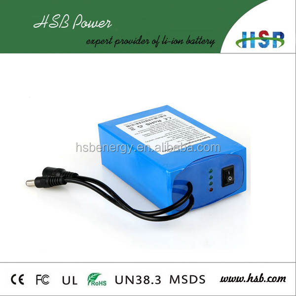 OEM high quality 12V 6000mAh DC Output Lithium Ion Battery Pack For LED Panel, Amplifier, Modem