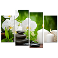 White Butterfly Orchid Giclee Print Stone Zen Canvas Artwork for Living Room Office Decoration Wholesale 4 Pieces