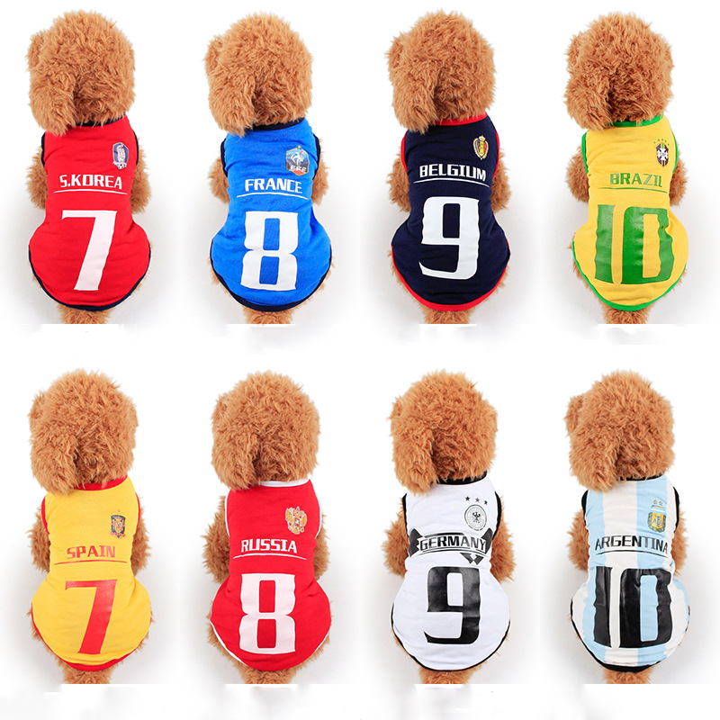 Factory Direct Pet Spring Summer Clothes World Cup Soccer Team T Shirt Dog Pet Vest Jerseys Summer For Dogs