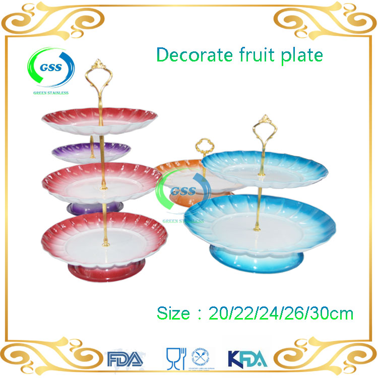 Free sample stainless steel round fruit tray/ multi-layer food tray