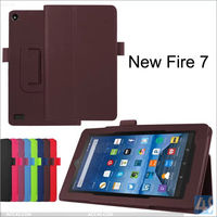 "For Amazon Kindle New Fire 7"" Leather Case, 2015 New Flip Leather Cover Case with Foldable Stand for Amazon Kindle New Fire 7"