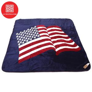 wholesale custom design logo printed navy blue color polar fleece usa throw american flag blanket