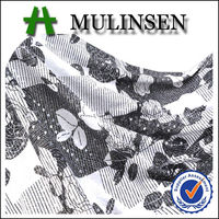 Mulinsen Cheap Knitting Polyester FDY 4 Way Stretch Black White Flower Printed Foil and Sequin Silver Shimmer Fabric