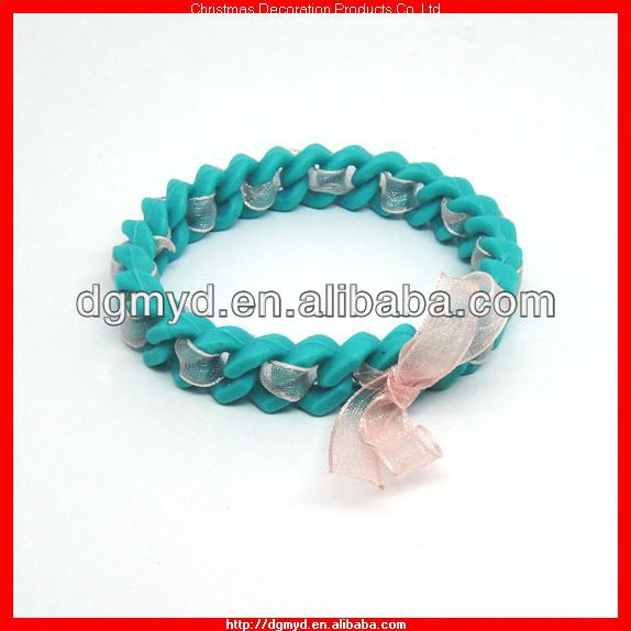 Fashional and beautiful weave silicone bracelet with ribbon (MYD-1041)