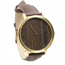lady stainless steel case wood surface quartz fashion watch women