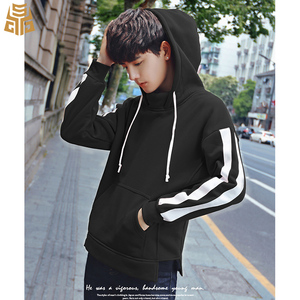 New Design Oversized Fleece Crew Round Neck Sweatshirt Stripe Sleeve Split Hem Custom Mens Pullover Plain Black Hoodies