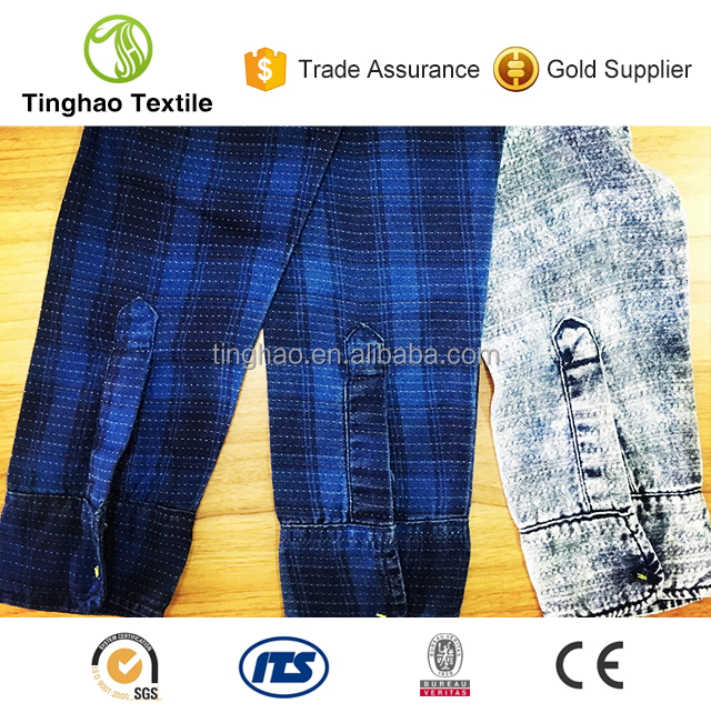 soft handfeel dobby construction tencel check denim fabric