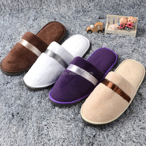 Top Quality EVA Sole Plush Coral Fleece Hotel Supplies Custom Disposable Wholesale Slippers