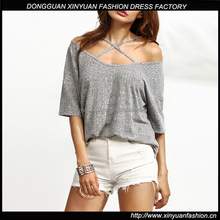 Latest Fashion Women Sexy Tops And Blouses Design Hot Girls Short Sleeve Knitted Shirts