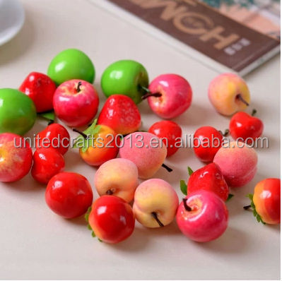 Mini small peach fruits and vegetables pear fruit mixed hair artificial orange apple strawberry cherry shooting props identify