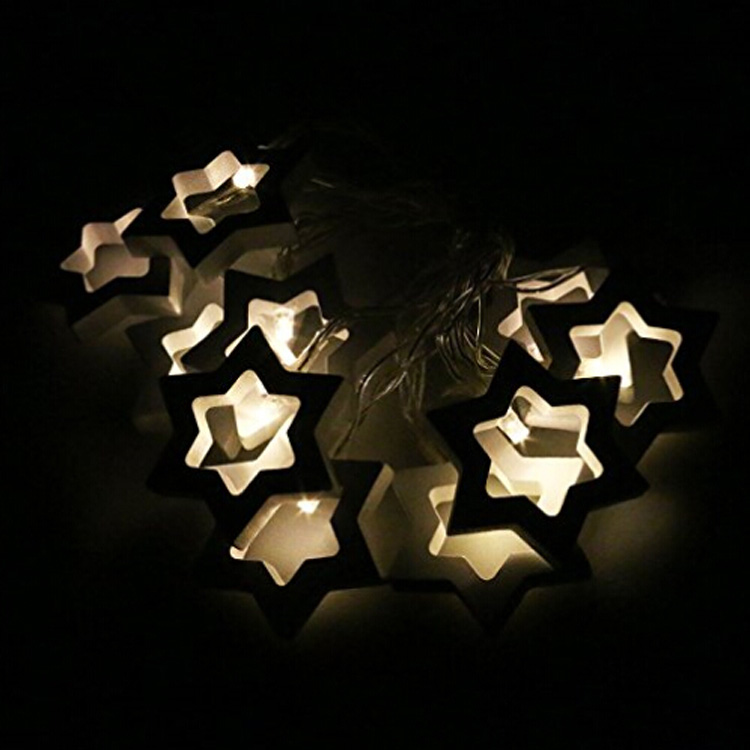 Wooden Star LED String Lights Battery Powered Fairy Lights Warm White