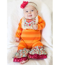 High quality baby girls fall orange ruffle clothes wholesale toddler infant floral bodysuit romper