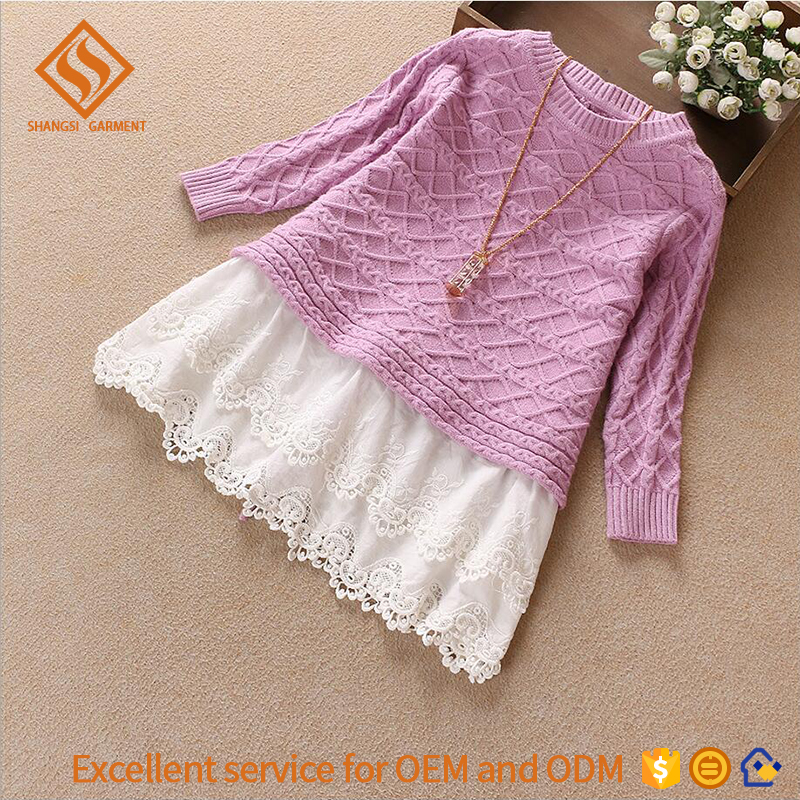 2017 Autumn sweater dress designs for kids , plain long sleeve wool sweater design for girl