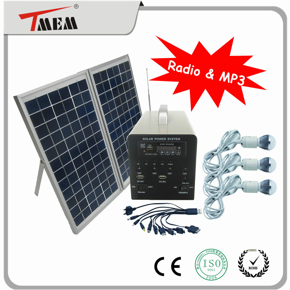 2016 News sun energy 10W mini solar lighting system with radio and MP3