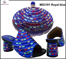 MS3191 Royal blue China made italy design shoes matching bags 2016 excellent high heels and handbag set