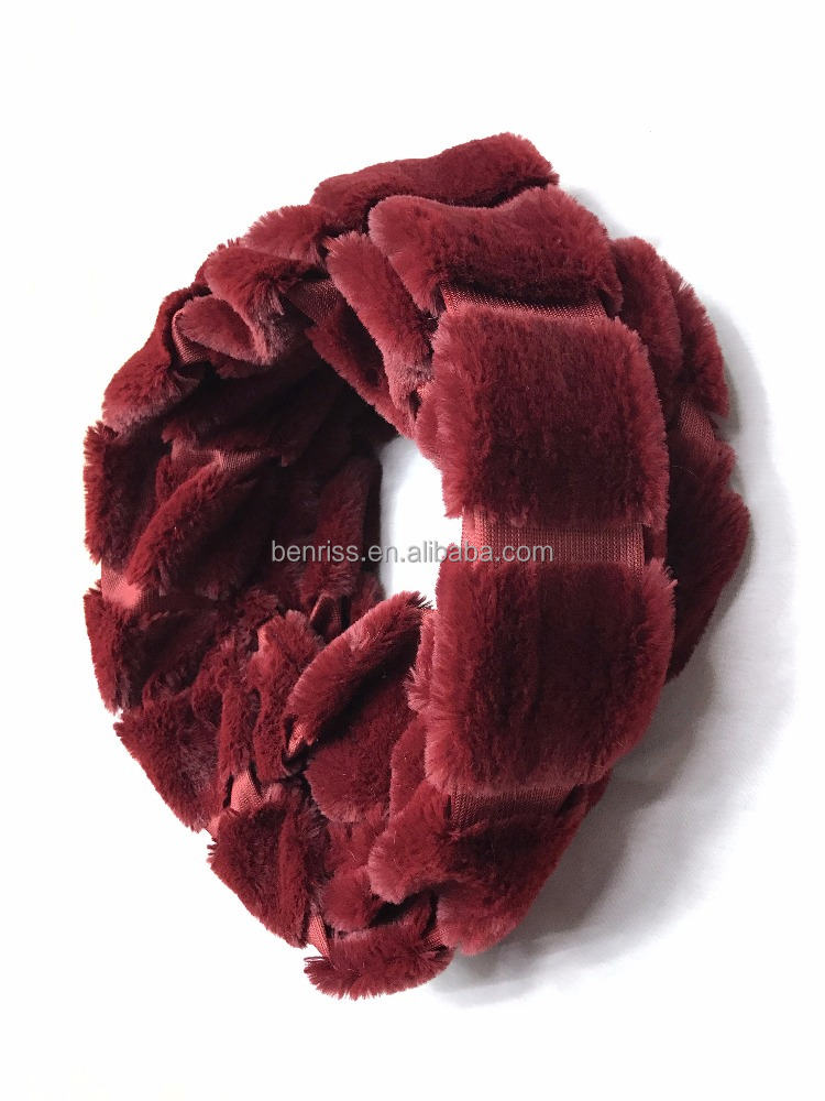 100% Polyester Wine Red Plush Scarf Fashion Lady Scaves Shawl Autumn Winter Season Snood