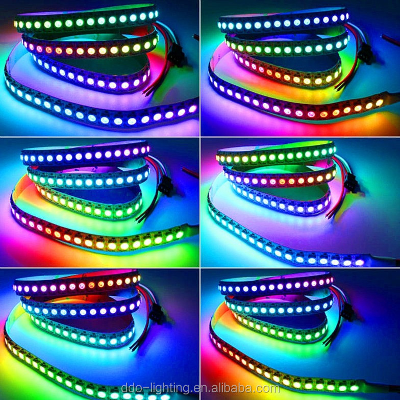 ws2812 waterproof digital rgb pixel led strip 30leds 60leds 144leds with factory bottom price