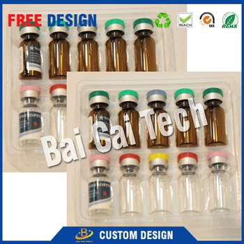 Custom plastic pharmaceutical 10ml blister plastic tray, plastic vials packaging carton box insert
