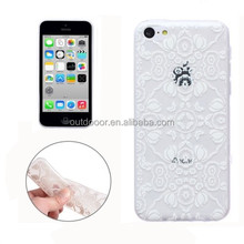 Translucent Flower Pattern Ultrathin TPU Case for iPhone 5C