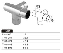 Handrail fitting/stainless steel T connector