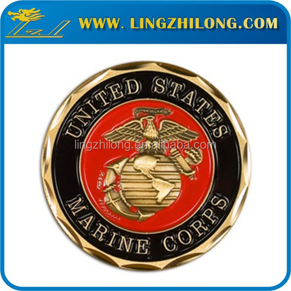 Fashion customized gold us marine corps metal coin