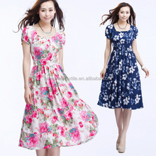 2015 new printed 100% cotton rayon fabric with soft feel for dress