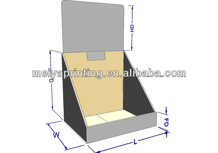 Meiya popular Corrugated cardboard toy,magazine,book,CD or DVD counter top display stand brochure holders