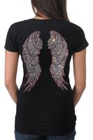 V-neck women's rhinestone t shirt with angel wings