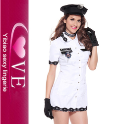 White Cosplay Dress Women Beautiful Captain Uniforms With Hat